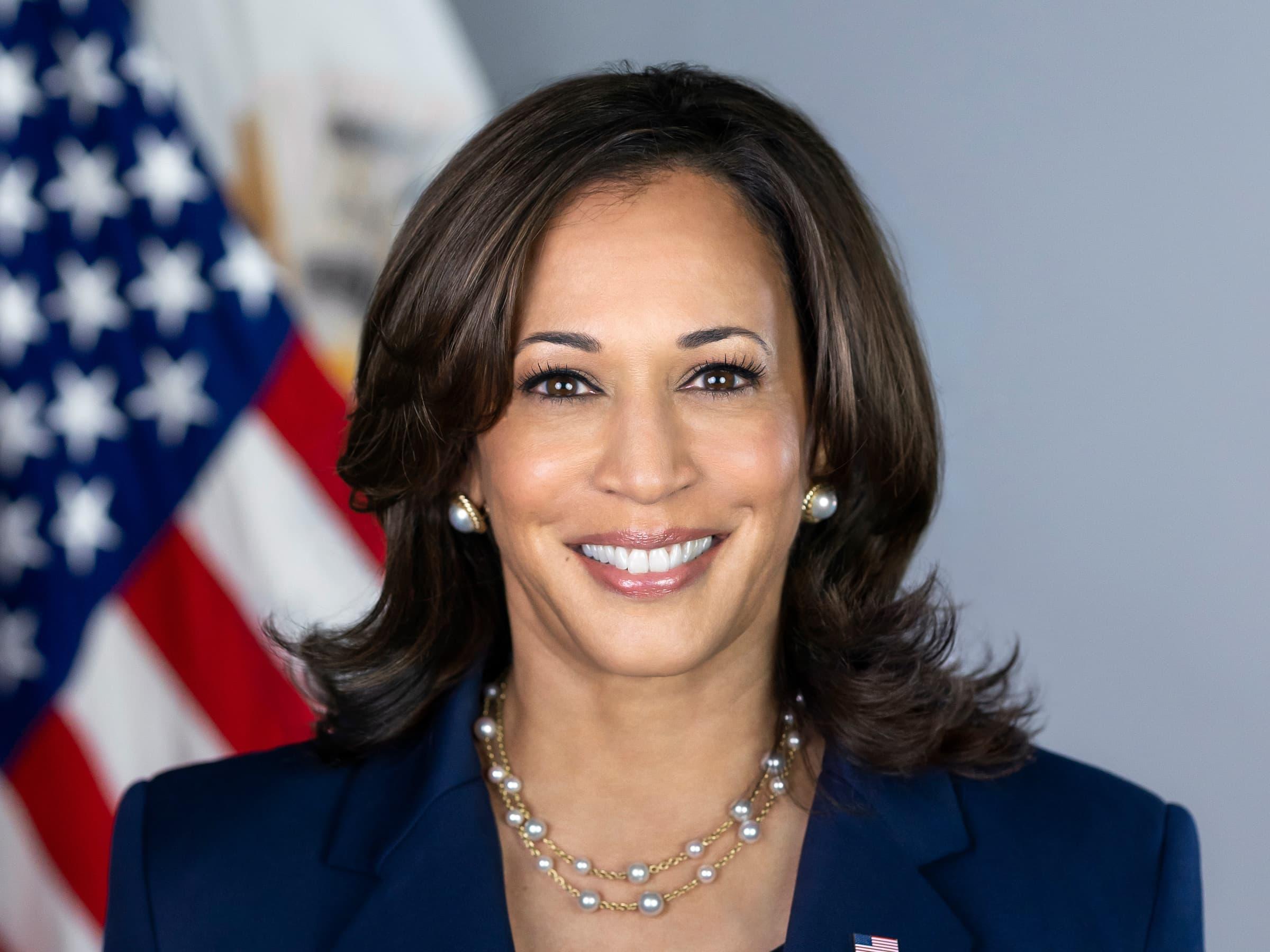 Image is a portrait of Vice-President Kamala Harris